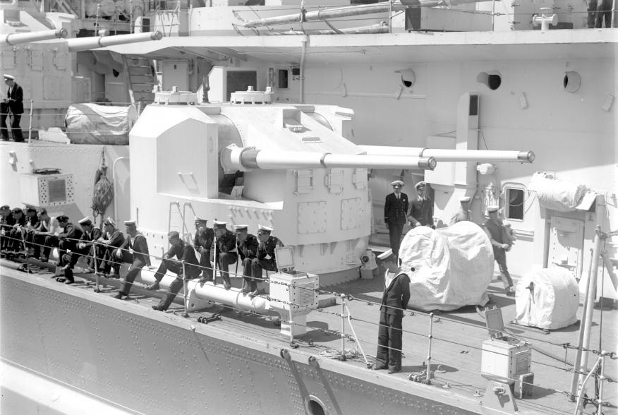 HMS King George V in 1945, secondary QF 5.25 inch gun turret. 1945. State Library of Victoria.