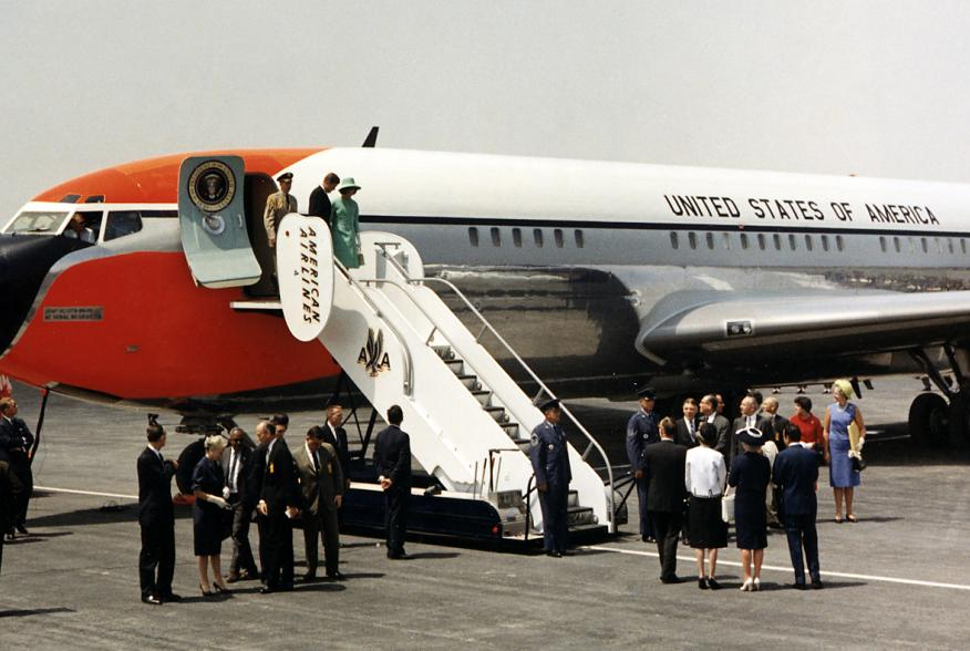 Arrival in Mexico City. President and Mrs. Kennedy debark Air Force One. Mexico City, Mexico, International Airport.