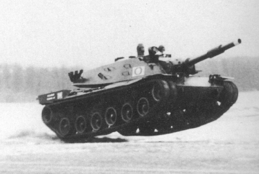 American prototype MBT-70 at Aberdeen Proving Ground speed tests. U.S. Army.