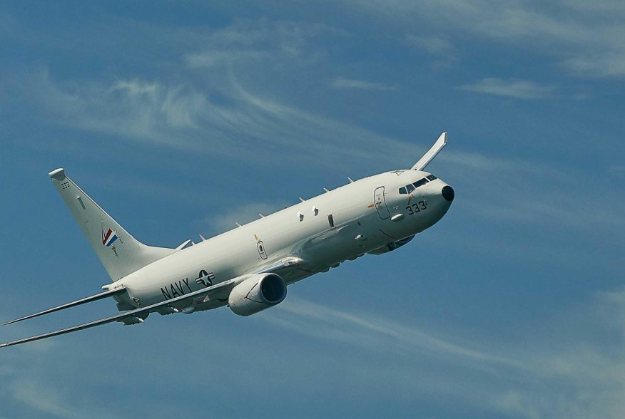 The U.S. Navy's P-8A Poseidon takes flight just off the coast of Naval Air Station Patuxent River during testing of an enhanced Search and Rescue (SAR) kit.