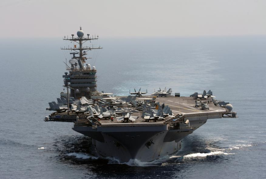 The Nimitz-class aircraft carrier USS Abraham Lincoln transits the Indian Ocean in this U.S. Navy handout photo dated January 18, 2012.