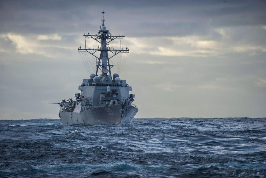 The US Navy Arleigh Burke-class guided-missile destroyer USS Roosevelt steams in the Atlantic while en route to the Mediterranean Sea February 18, 2014. U.S. Navy SEALs operating from the USS Roosevelt have seized a tanker that fled with a cargo of oil fr