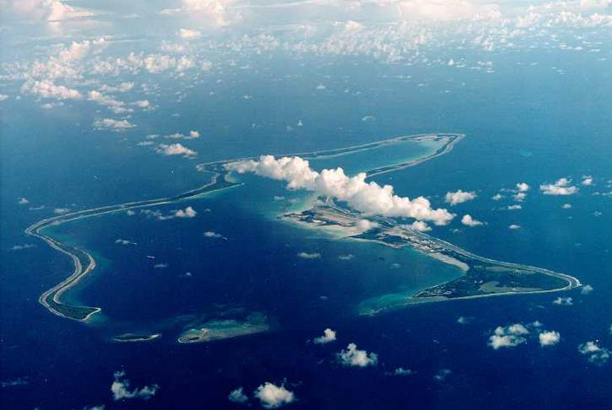 File photo of Diego Garcia,largest island in the Chagos archipelago and site of a major United States military base in the middle of the Indian Ocean leased from Britain in 1966. Exiled inhabitants of Diego Garcia began a challenge July 17 to a British go