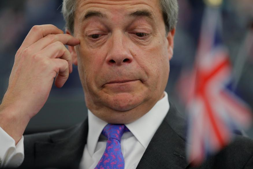 Brexit campaigner and Member of the European Parliament Nigel Farage attends a debate on the guidelines on the framework of future EU-UK relations at the European Parliament in Strasbourg, France, March 13, 2018. REUTERS/Vincent Kessler