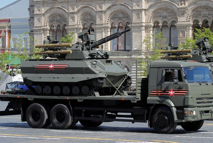 A Russian Uran-9 unmanned armoured reconnaissance and infantry support vehicle is seen during the Victory Day parade, marking the 73rd anniversary of the victory over Nazi Germany in World War Two, at Red Square in Moscow, Russia May 9, 2018. REUTERS/Maxi
