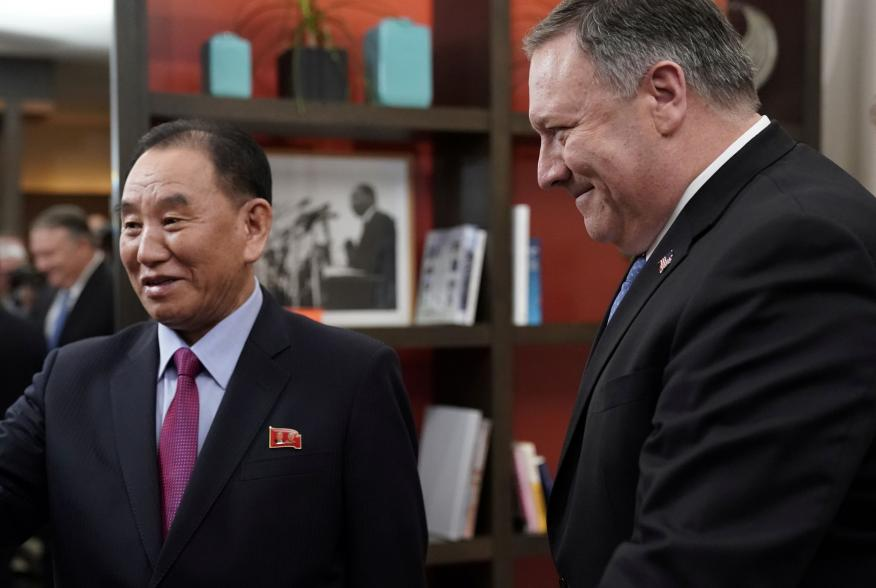 U.S. Secretary of State Mike Pompeo escorts Vice Chairman of the North Korean Workers' Party Committee Kim Yong Chol, North Korea's lead negotiator in nuclear diplomacy with the United States, into talks aimed at clearing the way for a second U.S.-North K