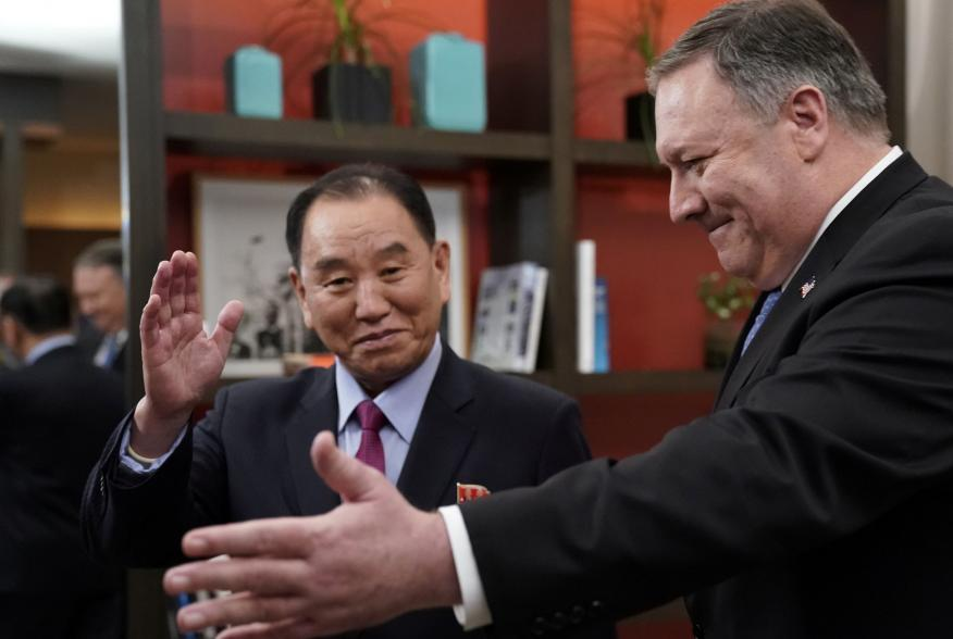 U.S. Secretary of State Mike Pompeo stands with Vice Chairman of the North Korean Workers' Party Committee Kim Yong Chol, North Korea's lead negotiator in nuclear diplomacy with the United States, for talks aimed at clearing the way for a second U.S.-Nort