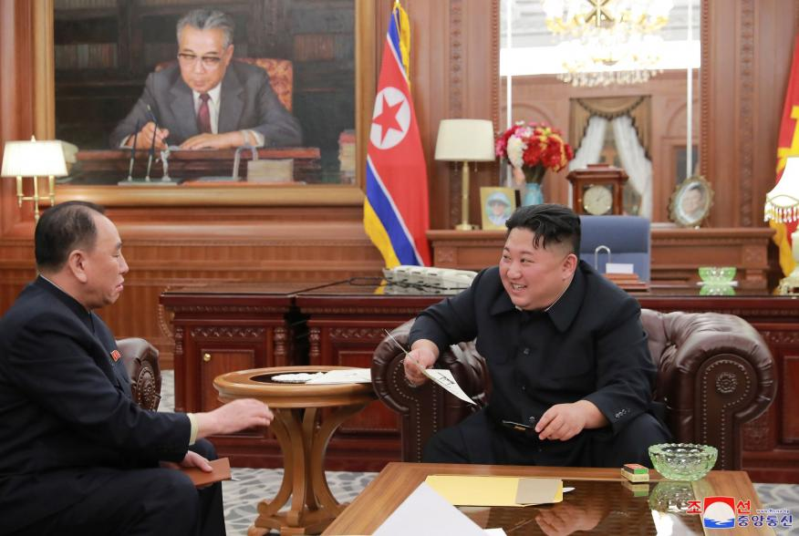 North Korean leader Kim Jong Un meets with the delegation that had visited the United States, in Pyongyang, North Korea in this photo released by North Korea's Korean Central News Agency (KCNA) on January 23, 2019. KCNA via REUTERS ATTENTION EDITORS - THI