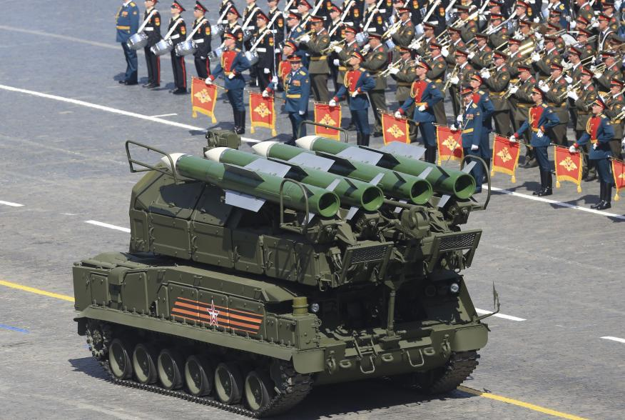 Russian BUK-M2/SA-17 Grizzly medium-range battlefield surface-to-air missile system drives during the Victory Day parade at Red Square in Moscow, Russia, May 9, 2015. Russia marks the 70th anniversary of the end of World War Two in Europe on Saturday with