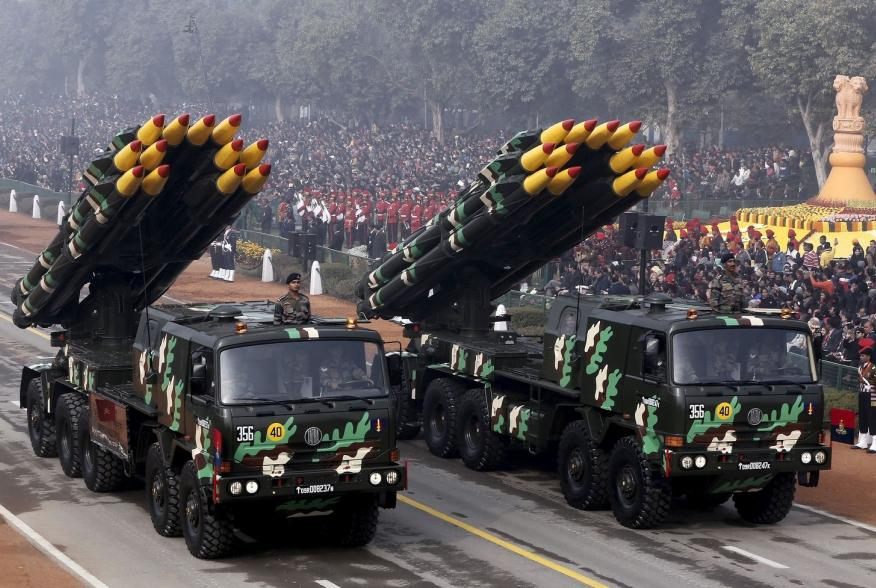 Indian army officers stand on vehicles displaying missiles during the Republic Day parade in New Delhi, India, January 26, 2016. REUTERS/Altaf Hussain