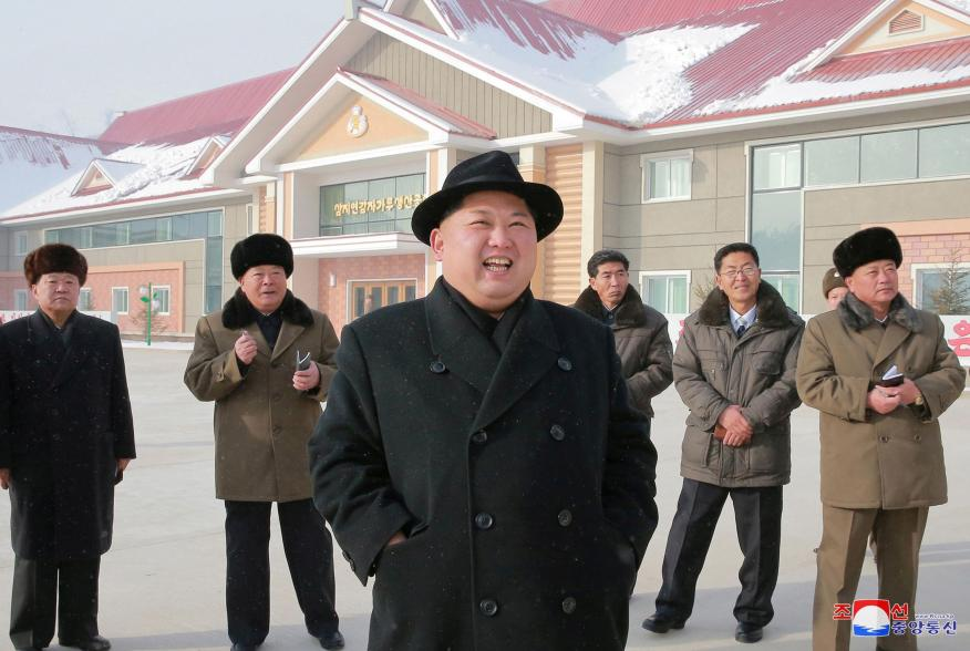 North Korea's leader Kim Jong Un is seen during the inspection of a potato flour factory in this undated photo released by North Korea's Korean Central News Agency (KCNA) in Pyongyang December 6, 2017. KCNA/via REUTERS ATTENTION EDITORS - THIS PICTURE WAS