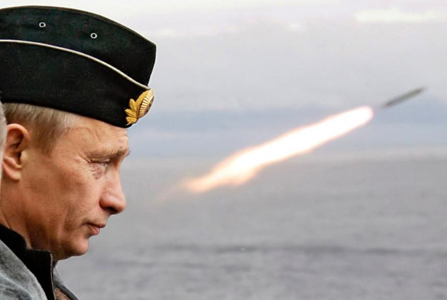 Russian President Putin watches the launch of a missile during naval exercises in Russia's Arctic North on board the nuclear missile cruiser Pyotr Veliky. Russian President Vladimir Putin watches the launch of a missile during naval exercises in Russia's