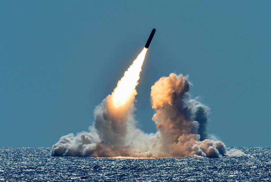 An unarmed Trident II D5 missile is test-launched from the Ohio-class U.S. Navy ballistic missile submarine USS Nebraska off the coast of California, U.S. March 26, 2018. Picture taken March 26, 2018.