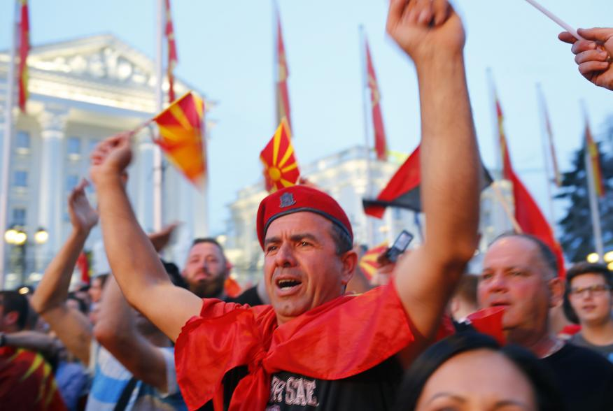 Supporters of opposition party VMRO-DPMNE take part in a protest over compromise solution in Macedonia's dispute with Greece over the country's name in Skopje, Macedonia, June 2, 2018. REUTERS/Ognen Teofilovski