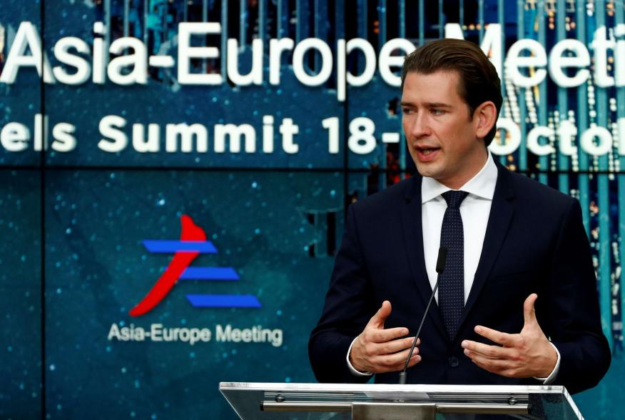 Austrian Chancellor Sebastian Kurz attends a news conference after the ASEM leaders summit in Brussels, Belgium October 19, 2018. REUTERS/Francois Lenoir