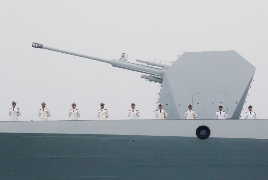Chinese Navy's destroyer Taiyuan takes part in a naval parade off the eastern port city of Qingdao, to mark the 70th anniversary of the founding of Chinese People's Liberation Army Navy, China, April 23, 2019. REUTERS/Jason Lee TPX IMAGES OF THE DAY