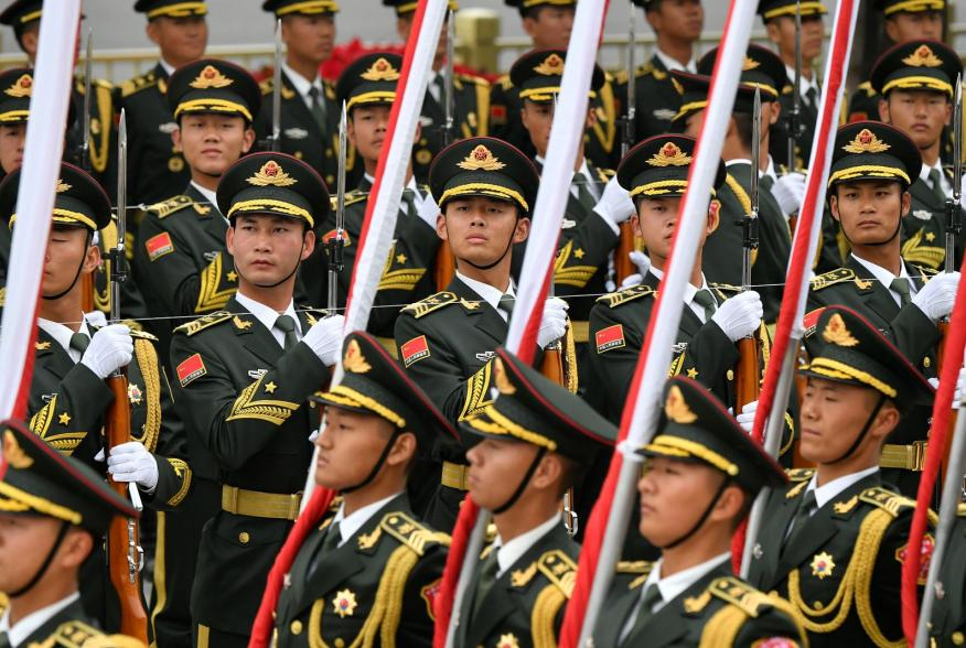 Chinese People's Liberation Army (PLA) honor guards prepare for a welcome ceremony for Austrian Chancellor Sebastian Kurz at the Great Hall of the People in Beijing, China, April 28, 2019. Parker Song/Pool via REUTERS