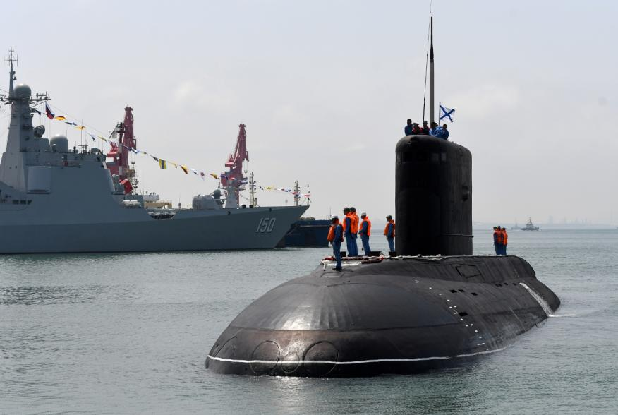 A Russian Navy's submarine arrives for the Chinese-Russian joint naval exercise at Dagang port, in Qingdao, Shandong province, China April 29, 2019. Picture taken April 29, 2019. REUTERS/Stringer
