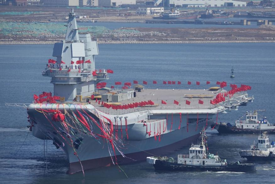 FILE PHOTO - China's first domestically built aircraft carrier is seen during its launch ceremony in Dalian, Liaoning province, China, April 26, 2017. To match Special Report CHINA-ARMY/NAVY REUTERS/Stringer/File Photo ATTENTION EDITORS - THIS IMAGE WAS P