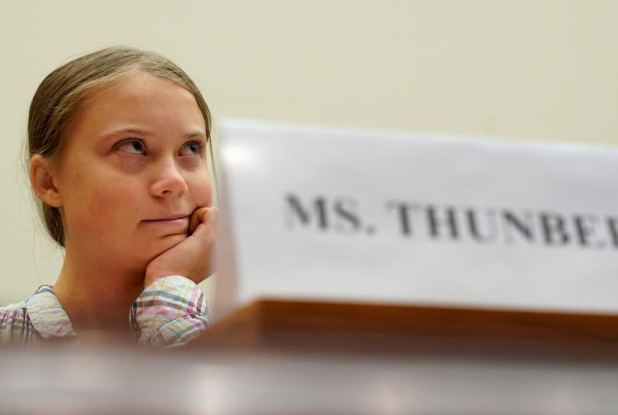 """Sixteen year-old Swedish climate activist Greta Thunberg testifies at a House Foreign Affairs subcommittee and House Select Climate Crisis Committee joint hearing on """"Voices Leading the Next Generation on the Global Climate Crisis"""""""