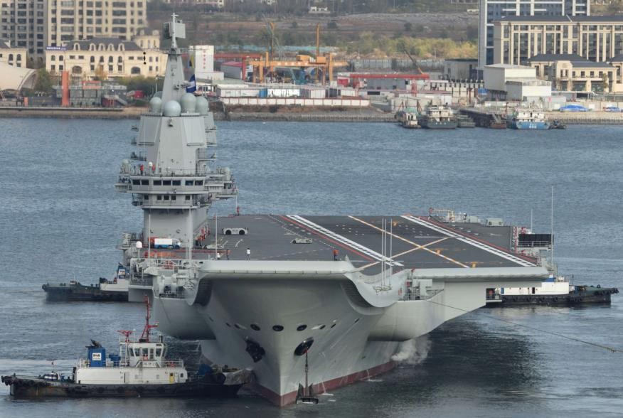 China's first domestically built aircraft carrier departs the port for its ninth sea trial in Dalian, Liaoning province, China November 14, 2019. Picture taken November 14, 2019. REUTERS/Stringer