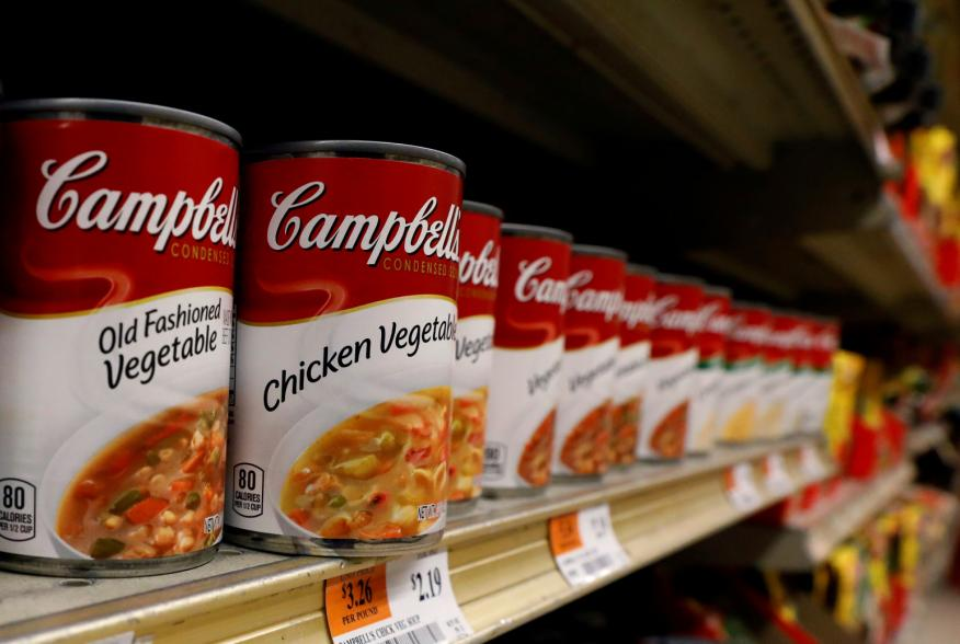 Cans of Campbell's Soup are displayed in a supermarket in New York City, U.S. February 15, 2017. REUTERS/Brendan McDermid