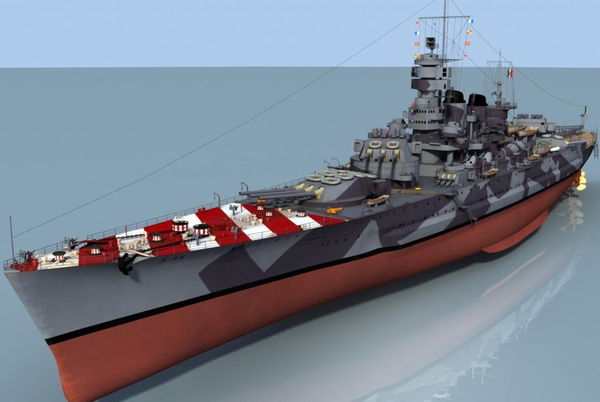 3D rendering of the different views of the Regia Marina Roma battleship. Wikimedia/cbhierro.