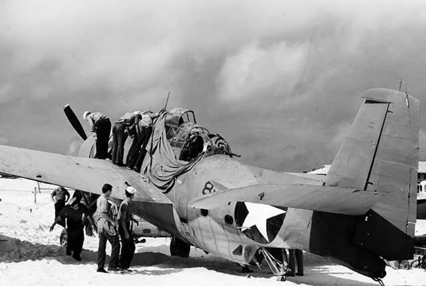 "Picture of the only survivor of six Torpedo Squadron Eight (VT-8) Grumman TBF ""Avengers"" that had attacked the Japanese carrier force in the morning of 4 June 1942."