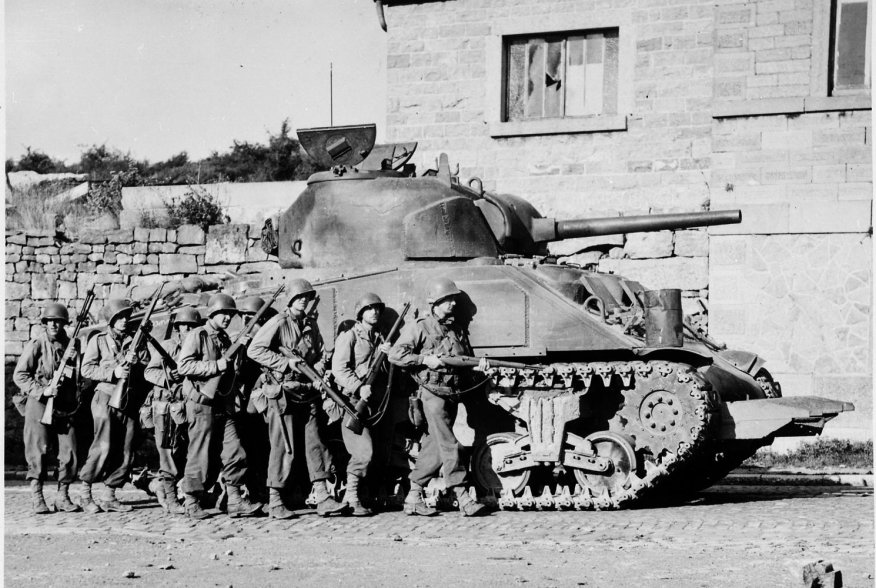 An American M4 Sherman tank with hedgerow breaching modifications, 60th Infantry Regiment, Belgium. 9 September 1944. U.S. Army Signal Corps.