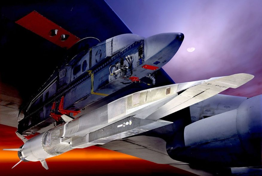 The X-51A Waverider, shown here under the wing of a B-52 Stratofortress, is set to demonstrate hypersonic flight. Powered by a Pratt & Whitney Rocketdyne SJY61 scramjet engine, it is designed to ride on its own shockwave and accelerate to about Mach 6.