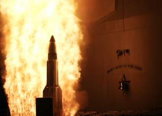 PACIFIC OCEAN (Feb 20, 2008) At a single modified tactical Standard Missile-3 (SM-3) launches from the U.S. Navy AEGIS cruiser USS Lake Erie (CG 70), successfully impacting a non-functioning National Reconnaissance Office satellite approximately 247 kilom