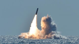 An unarmed Trident II D5 missile launches from the Ohio-class ballistic missile submarine USS Nebraska (SSBN 739) off the coast of California. (U.S. Navy photo by Mass Communication Specialist 1st Class Ronald Gutridge/Released)