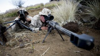 U.S. Marines attached to Scout Sniper Platoon, Weapons Company, 1st Battalion, 3rd Marine Regiment,