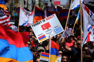 Protesters rally outside the Turkish Consulate in commemoration of the 102nd anniversary of the Armenian genocide in Los Angeles, California, U.S., April 24, 2017. REUTERS/Mike Blake