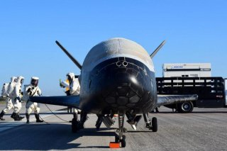 The U.S. Airforce's X-37B Orbital Test Vehicle mission 4 after landing at NASA's Kennedy Space Center Shuttle Landing Facility in Cape Canaveral, Florida, U.S., May 7, 2017. U.S. Air Force/Handout via REUTERS