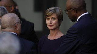 Former Deputy U.S. Attorney General Sally Yates arrives for an installation ceremony for FBI Director Christopher Wray at FBI headquarters in Washington, U.S., September 28, 2017. REUTERS/Carlos Barria