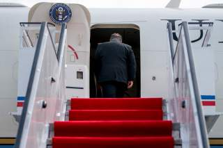U.S. Secretary of State Mike Pompeo boards his plane at Sunan International Airport in Pyongyang, North Korea, July 7, 2018, to travel to Japan. Andrew Harnik/Pool via REUTERS
