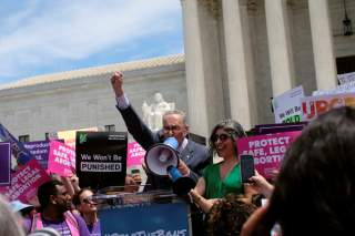 U.S. Senate Minority Leader Chuck Schumer (D-NY) speaks at a protest against anti-abortion legislation at the U.S. Supreme Court in Washington, U.S., May 21, 2019. REUTERS/James Lawler Duggan