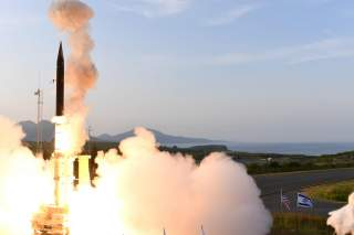 Israel's U.S.-backed Arrow-3 ballistic missile shield is seen during a series of live interception tests over Alaska, U.S., in this handout picture obtained by Reuters on July 28, 2019. Courtesy Israel Ministry of Defense via REUTERS