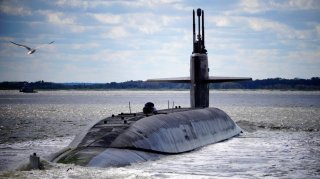 Following a strategic deterrence patrol, the Ohio-class ballistic-missile submarine USS Alaska returns to its homeport at Naval Submarine Base Kings Bay, Georgia, U.S. in this April 2, 2019 handout photo.