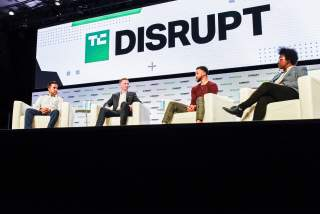 SnapTravel CEO Hussein Fazal, SC30 Inc. President Bryant Barr and Stephen Curry, Golden Gate Warriors MVP, introduce SC30 Inc. during the TechCrunch Disrupt forum in San Francisco, California, U.S. October 2, 2019. REUTERS/Kate Munsch