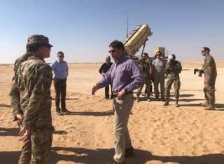 U.S. Defense Secretary Mark Esper speaks with U.S. troops in front of a Patriot missile battery at Prince Sultan Air Base in Saudi Arabia October 22, 2019. REUTERS/Idrees Ali