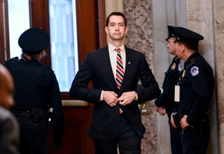 Sen. Tom Cotton (R-AR) arrives for the continuation of the Senate impeachment trial of President Trump at the U.S. Capitol in Washington, U.S., January 23, 2020. REUTERS/Erin Scott
