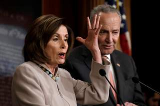 U.S. House Speaker Nancy Pelosi (D-CA) speaks at a joint news conference with Senate Minority Leader Chuck Schumer (D-NY) on President Trump's full Budget Request for fiscal year 2021 at the Capitol in Washington, U.S., February 11, 2020. REUTERS/Yuri Gri