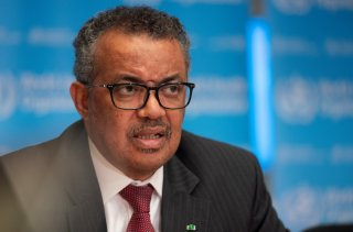 Director-General of World Health Organization (WHO) Tedros Adhanom Ghebreyesus attends a news conference on the outbreak of the coronavirus disease (COVID-19) in Geneva, Switzerland, March 16, 2020. Christopher Black/WHO/Handout via REUTERS