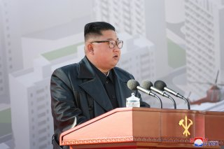North Korean leader Kim Jong Un attends a groundbreaking ceremony for the new Pyongyang General Hospital, on the occasion of the 75th founding anniversary of the Workers' Party of Korea, in Pyongyang, North Korea in this image released by North Korea's Ko