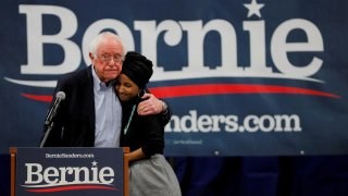 Democratic 2020 U.S. presidential candidate and U.S. Senator Bernie Sanders (I-VT) is joined by U.S. Representative Ilhan Omar (D-MN) at a campaign event in Manchester, New Hampshire, U.S., December 13, 2019. REUTERS/Brian Snyder