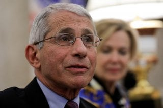 National Institute of Allergy and Infectious Diseases Director Dr. Anthony Fauci speaks during a coronavirus response meeting in the Oval Office at the White House in Washington, U.S., April 29, 2020. REUTERS/Carlos Barria