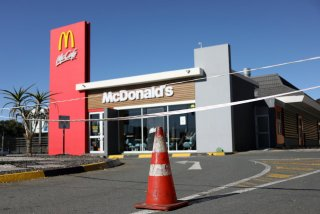A cone is placed at the entrance of a McDonald's, closed for over a month as South Africa starts to relax some aspects of a stringent nationwide coronavirus disease (COVID-19) lockdown in Johannesburg May 1, 2020. REUTERS/Siphiwe Sibeko