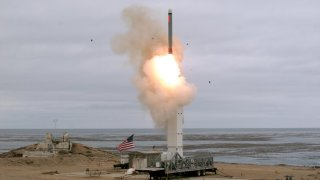 A view of a test missile launch as the Defense Department conducts a flight test of a conventionally configured ground-launched cruise missile at San Nicolas Island, California, U.S., August 18, 2019. Picture taken August 18, 2019. Scott Howe/Department o